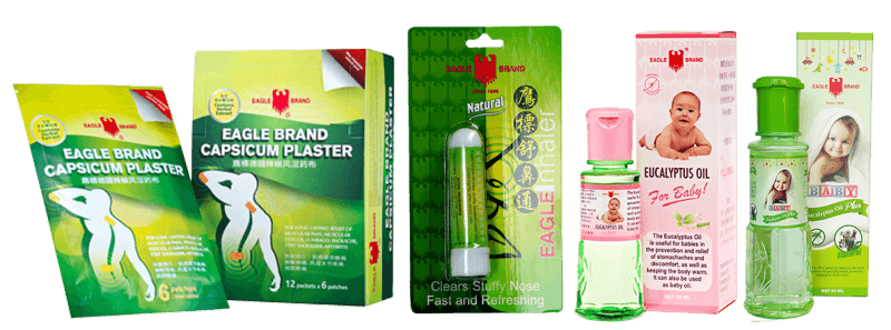 Eagle Brand plaster, inhaler and eucalyptus baby oil